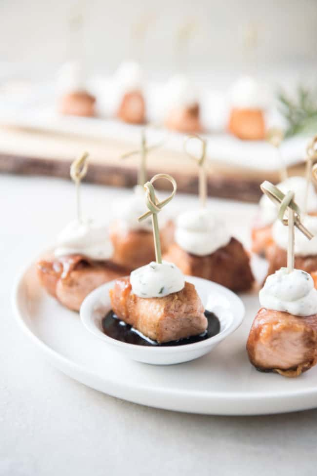 salmon bites ready to serve