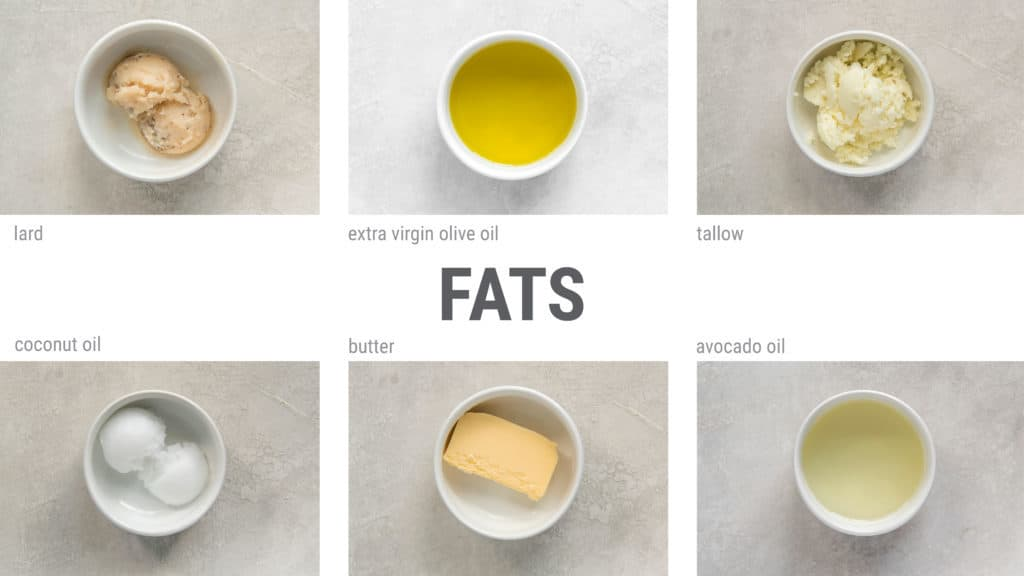 visual guide to fats for a ketogenic diet including lard tallow coconut oil olive oil and avocado oil