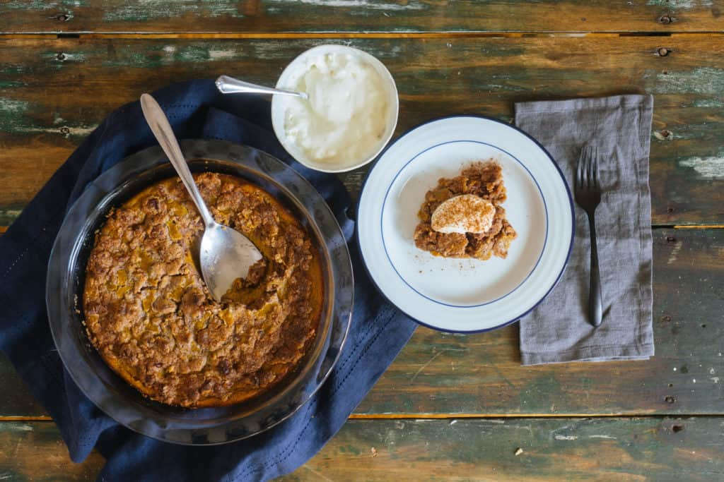 This low carb pumpkin crisp combines a pumpkin pie and apple crisp for the perfect, keto friendly holiday recipe!