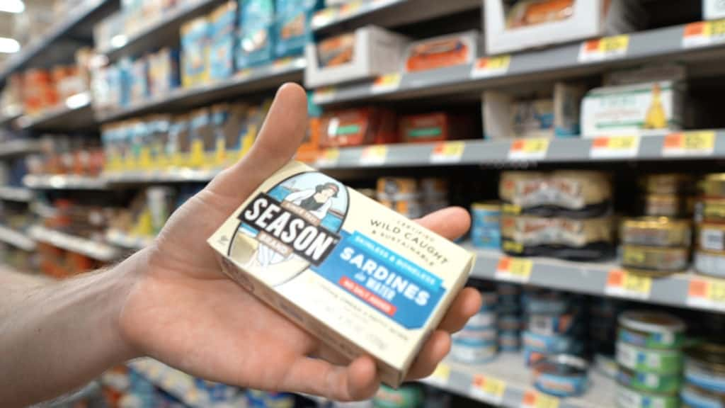 Sardines are high in omega 3 fatty acids and super convenient! Season brand canned sardines are what we recommend to buy from Walmart, but sardines packaged in olive oil are the best!