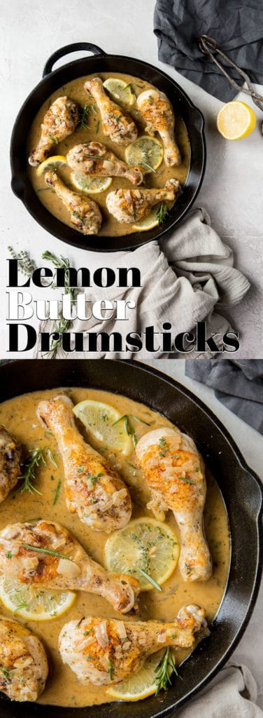 These Oven Baked Drumsticks combine tender chicken and a creamy butter and herb sauce for a busy weeknight dinner!