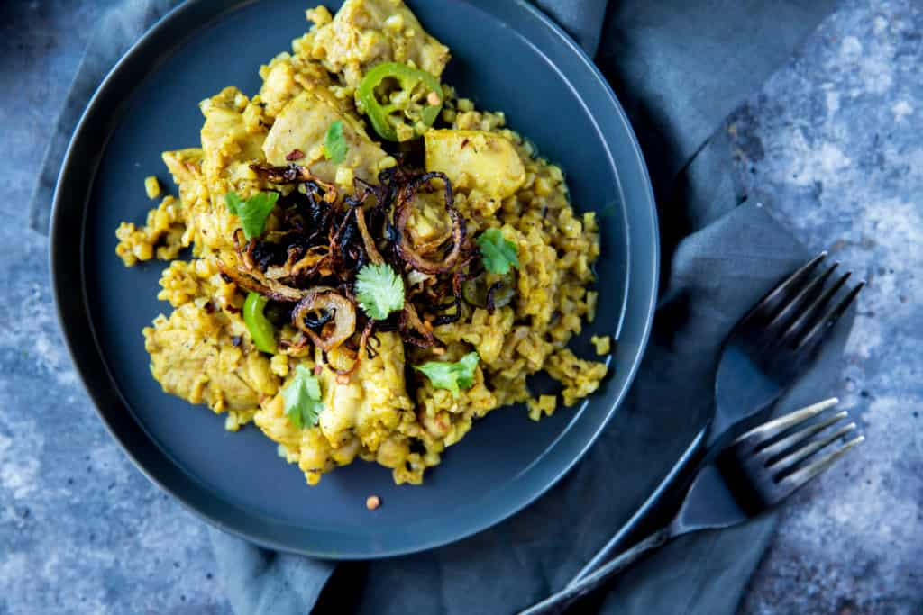 Our Easy Chicken Biryani recipe swaps out rice for low carb cauliflower and recrates a high carb dish into your new favorite keto Indian dish!