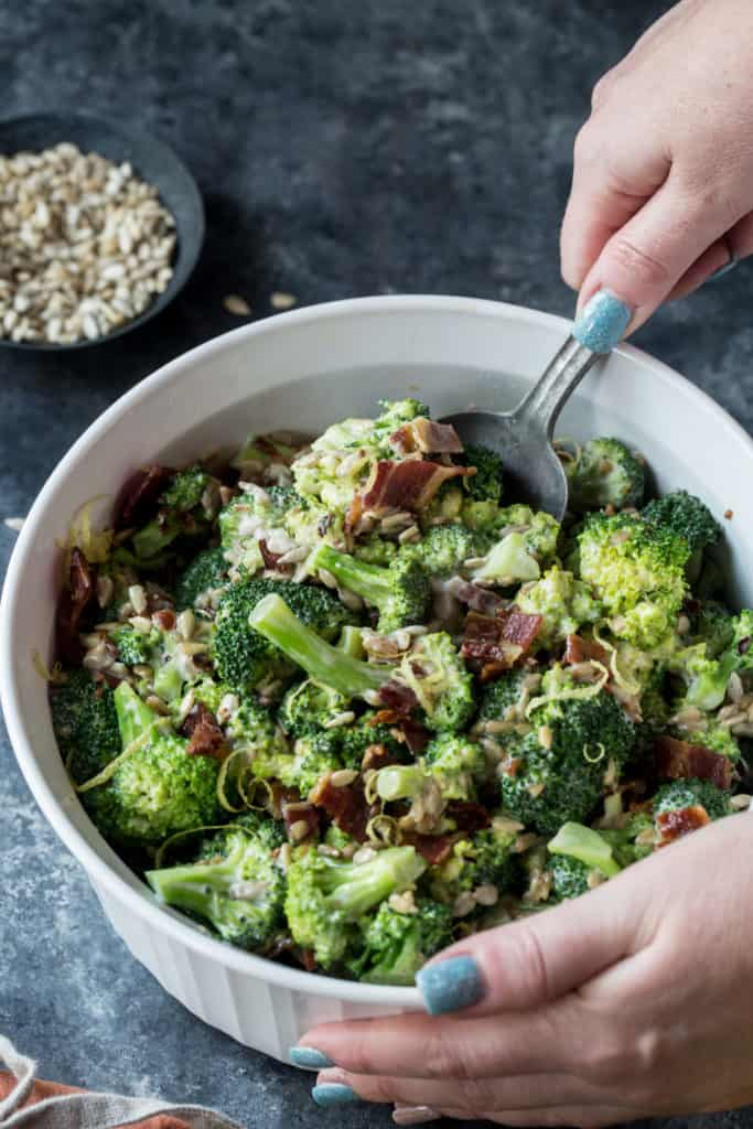 This Keto Broccoli Salad is the perfect cold side dish to your hot dogs and burgers on hot summer grill out days! All while being healthy, and low carbs!