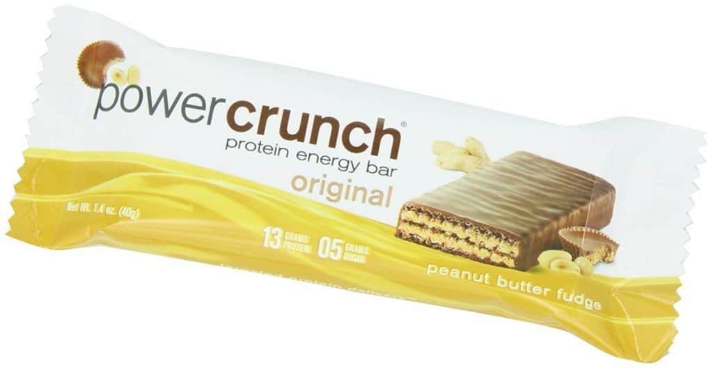 two tone protein bar packaging with a picture of a wafer and chocolate bar
