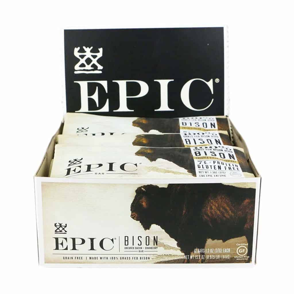 package of epic bison bars store display with bison on front