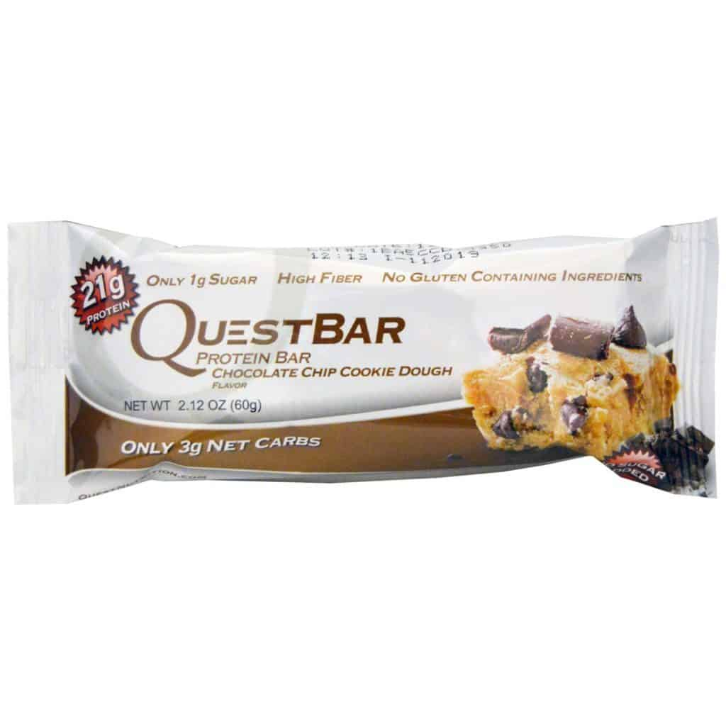 chocolate chip cookie dough protein bar in package with a large picture on the front