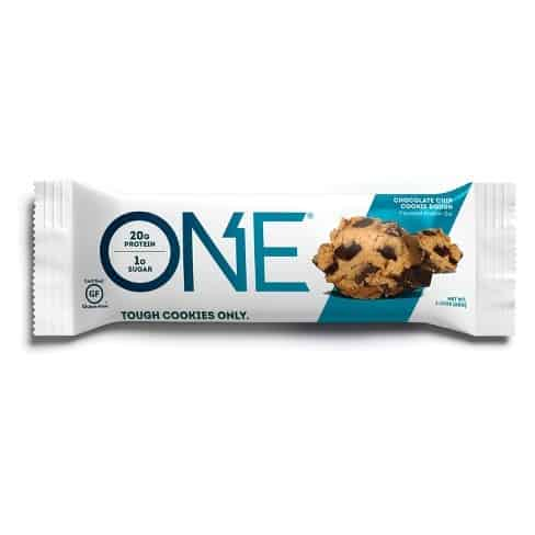 white and teal protein bar packaging with chunks of cookie dough