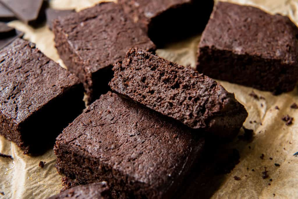 sliced keto chocolate brownie