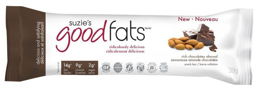 chocolate almond flavored low carb protein bar in packaged with a white background