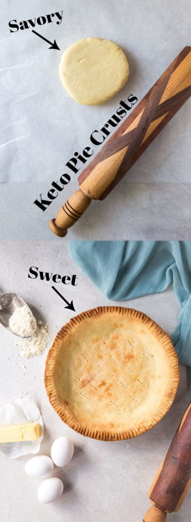 We have a the perfect keto pie crusts, sweet and savory, to add to your baking arsenal for breakfast quiches and dessert pies!