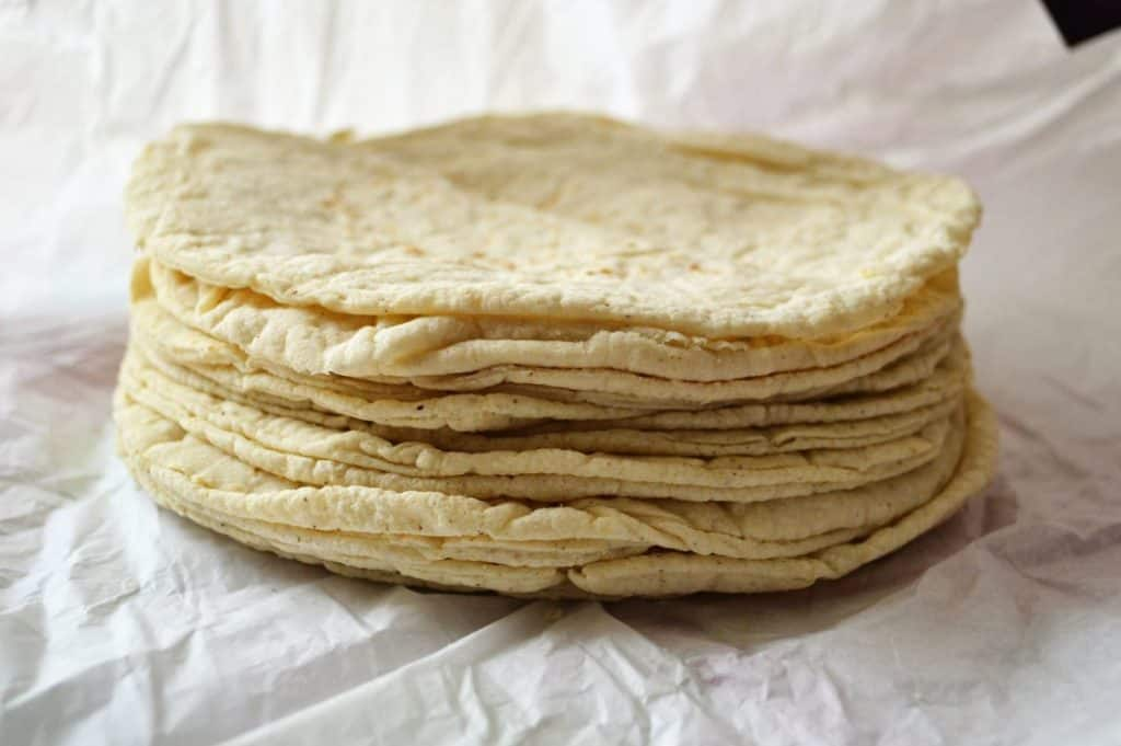 parchment paper stacked keto tortillas