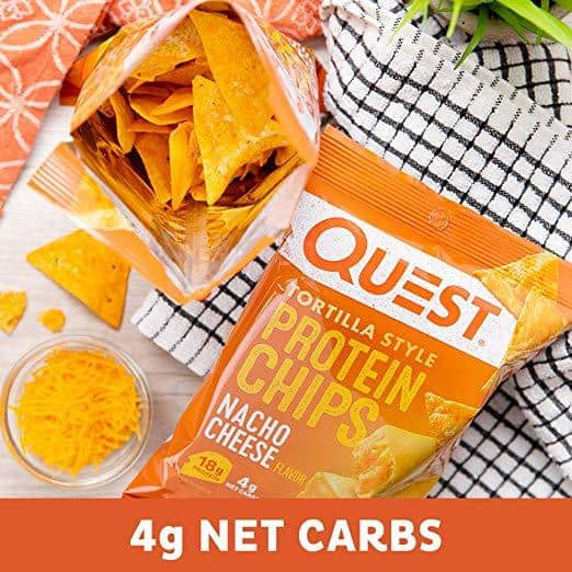 Quest Protein Chips in the nacho cheese flavor are a perfect keto alternative to Doritos.