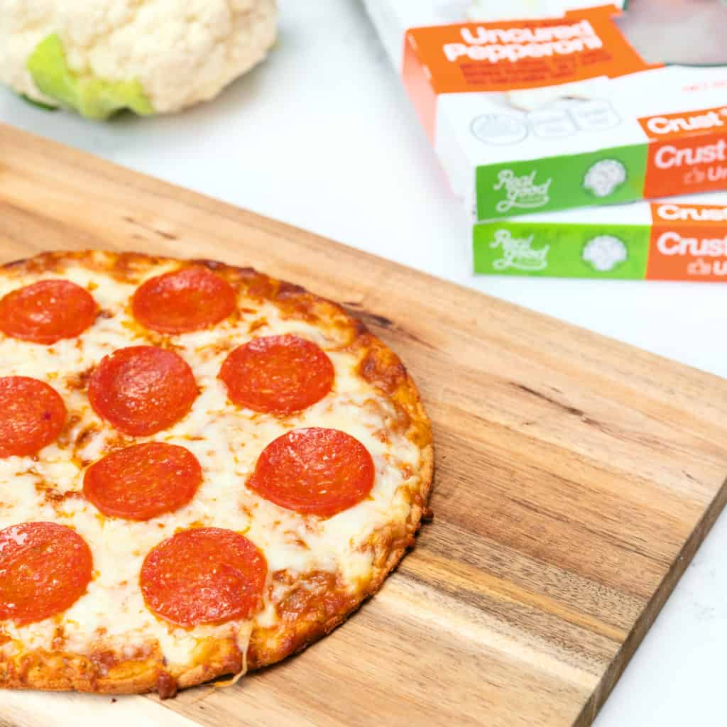 Realgood Foods Cauliflower Crust Pizza is a delicious and convenient keto pizza. This pepperoni version is delicious!