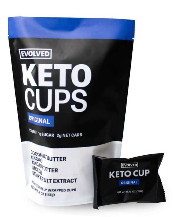 Eating Evolved keto cups are a great movie theater keto sweet snack. Just one can satisfy your sweet tooth while still being low carbs.