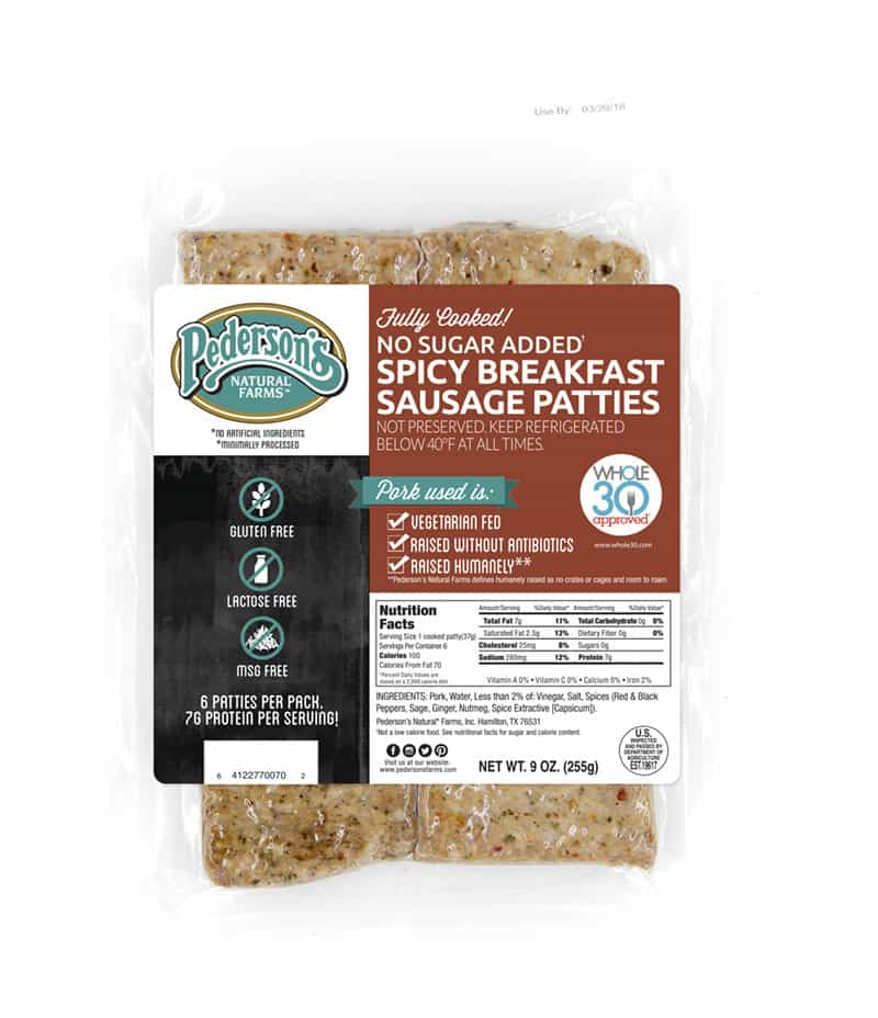 Pederson's natural farms meats is a great zero carb pork sausage for a keto breakfast