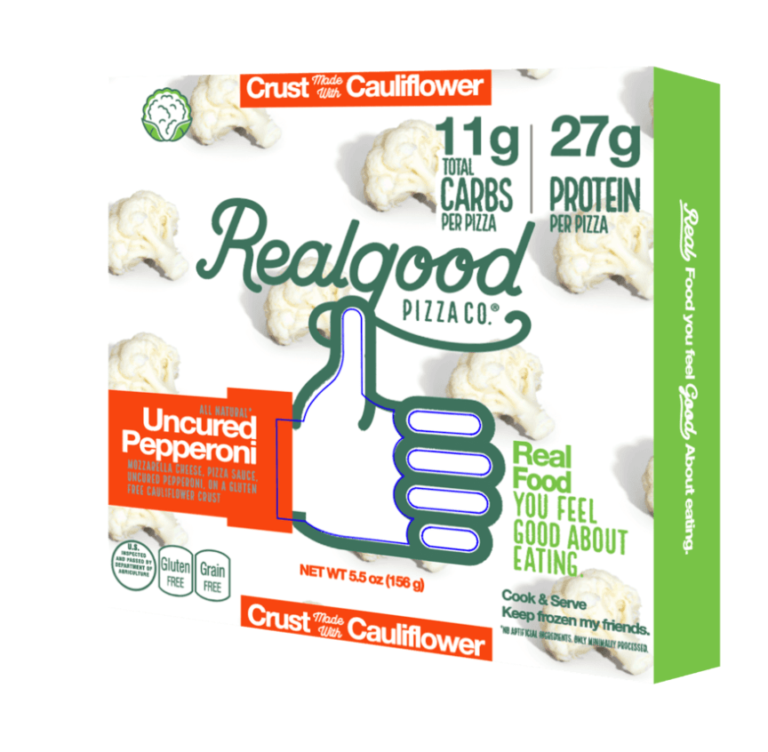The top 30 best keto products, Realgood Foods low carb pizza with cauliflower crust.