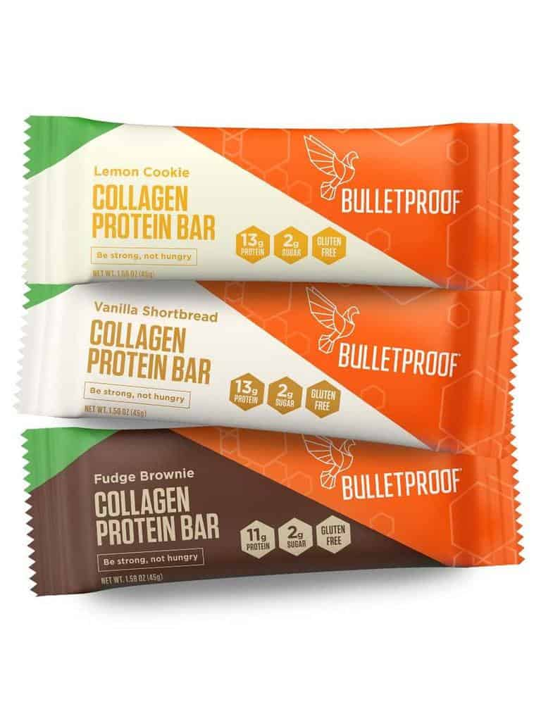 three flavors of collagen bars from bulletproof