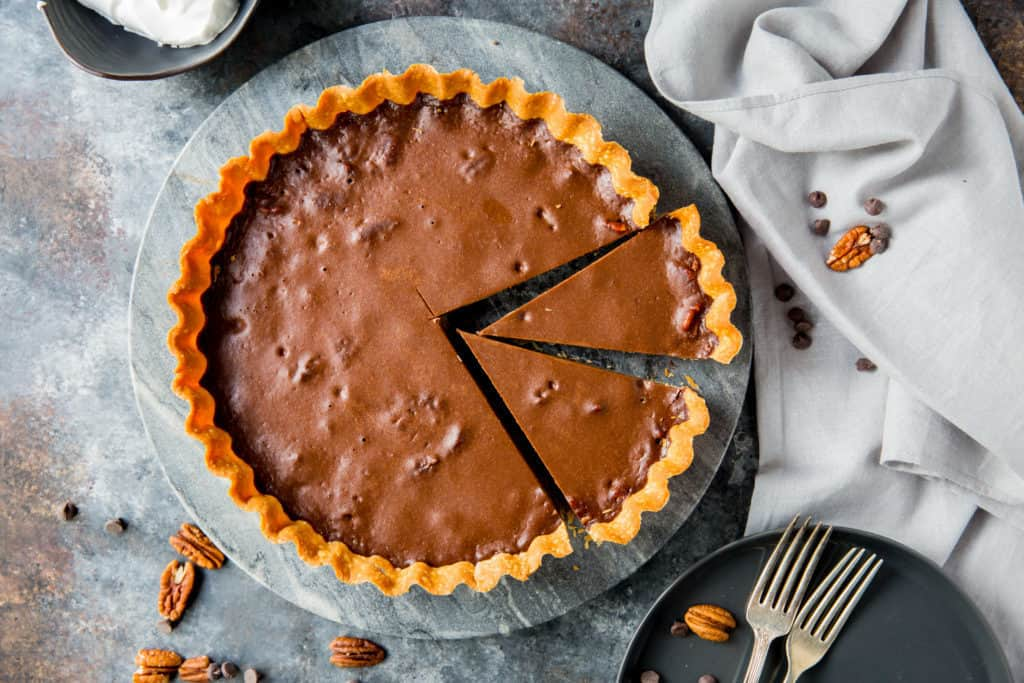 dark chocolate keto tart with slices