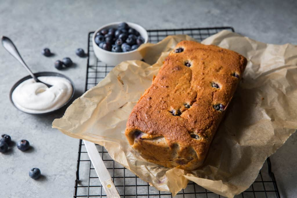 Homemade Keto blueberry walnut pound cake great and easy recipe