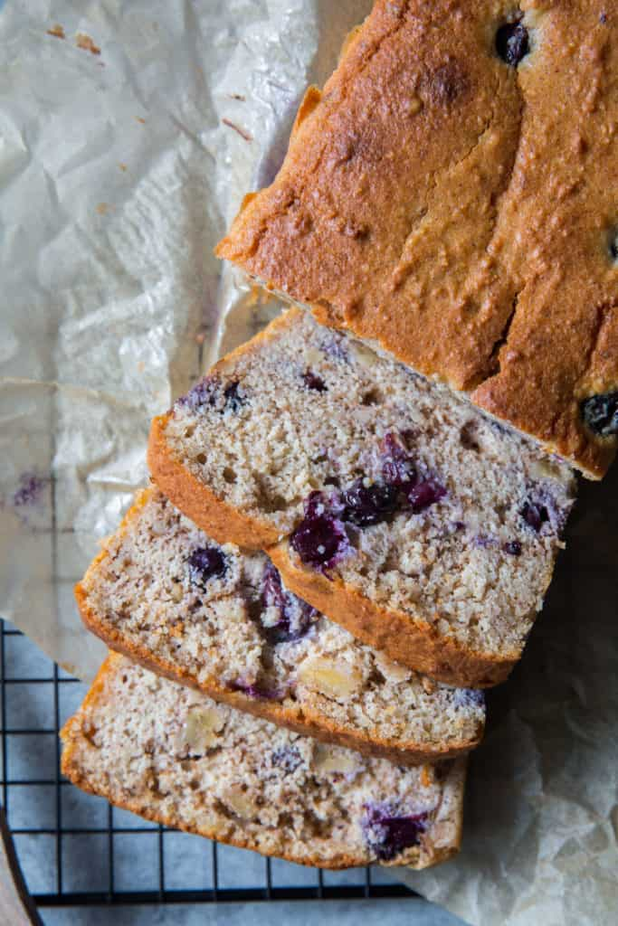 A very moist almond flour Keto Blueberry walnut pound cake recipe!