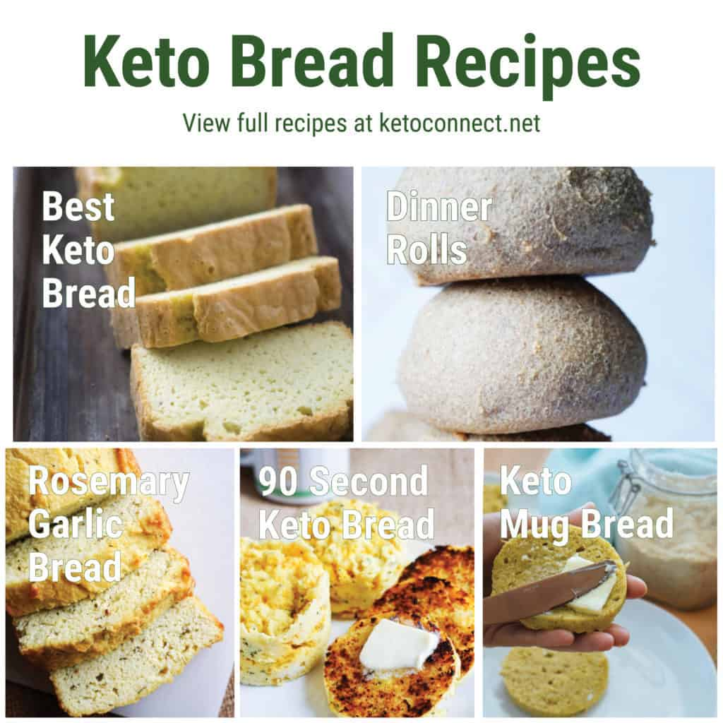 a graphic showing five different best keto bread recipes with text overlay