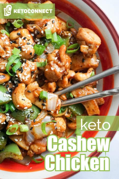 easy cashew chicken in a large bowl with text overlay describing the dish