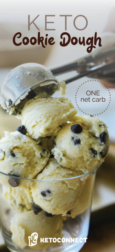 This chocolate chip keto cookie dough is guilt free and egg-less, safe for your consuming on a low carb diet!