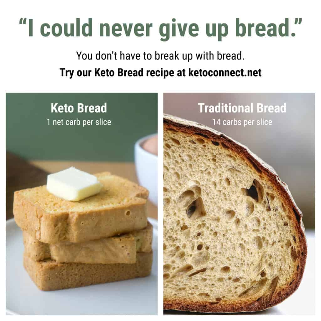 best keto bread comparison against traditional bread showing how many carbs per slice