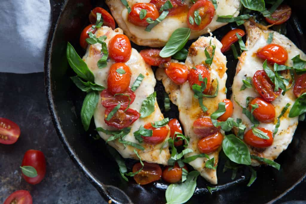 All it takes is one skillet to create this flavorful, filling chicken caprese recipe!