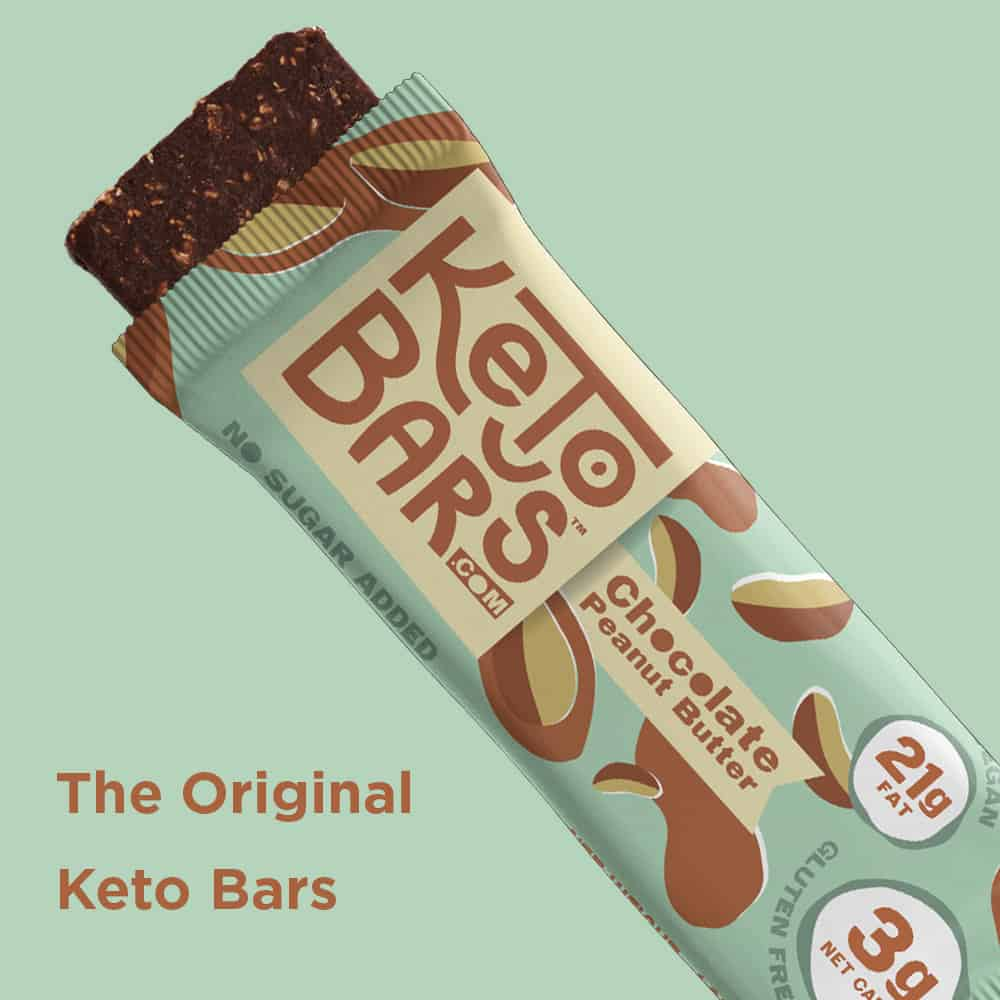 keto bars package with bar coming out of it