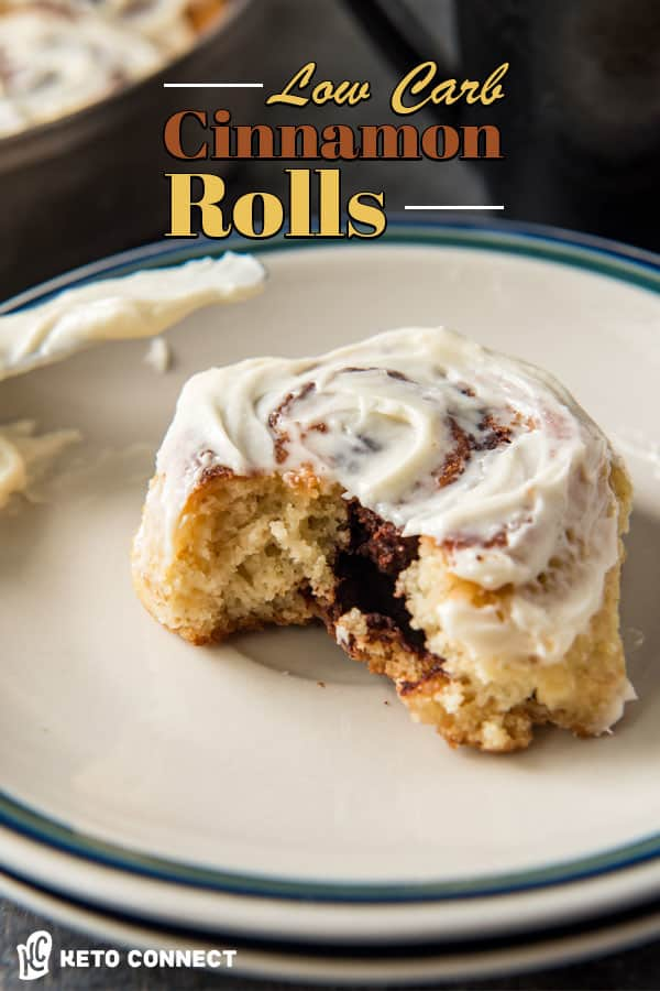 These Keto Cinnamon Rolls are doughy and soft, filled with a sweet cinnamon filling and topped with a smooth cream cheese frosting!