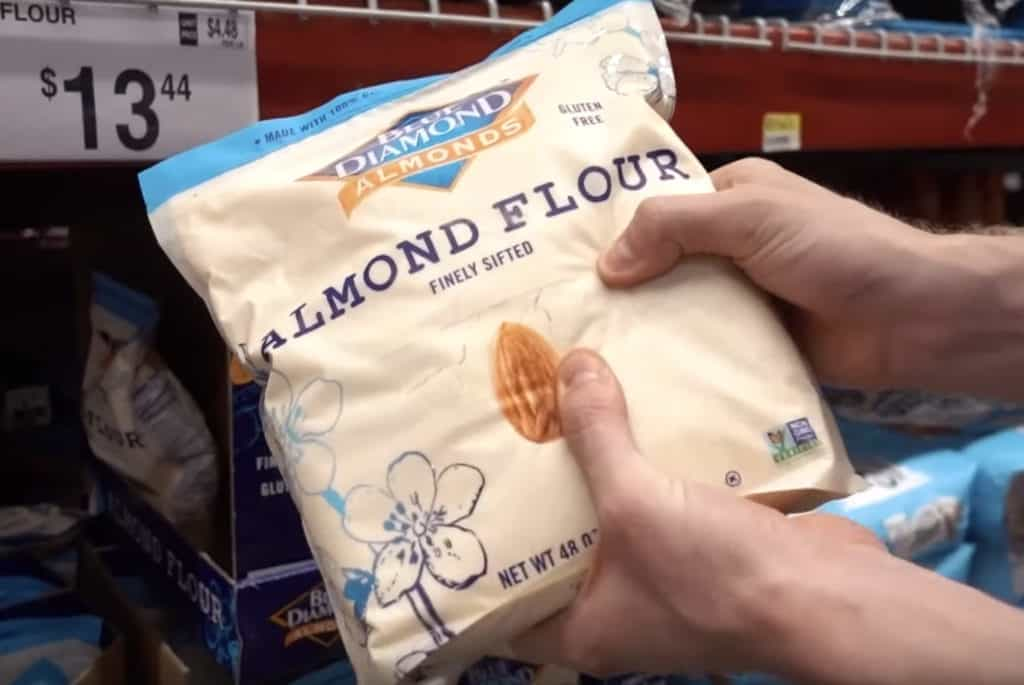 A bulk bag of finely sifted almond flour at Sam's Club.