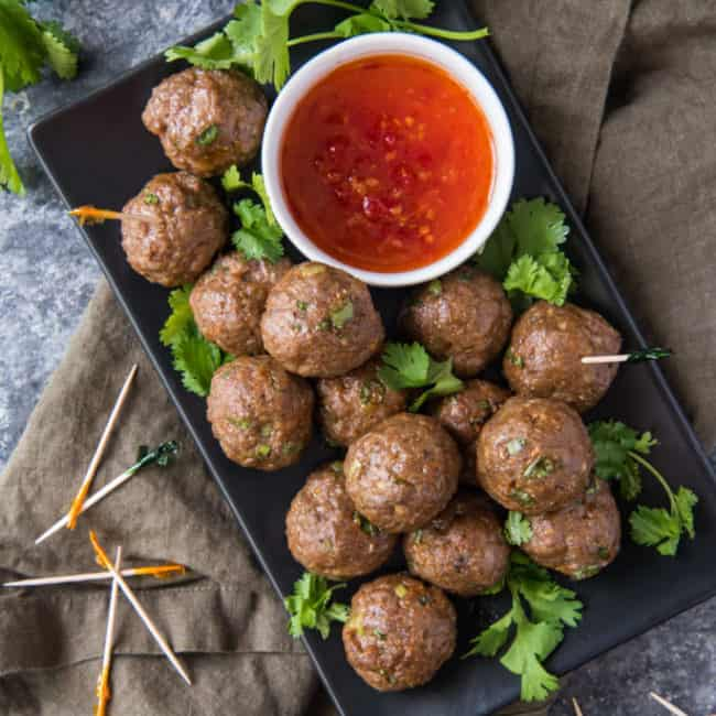 air fryer meatballs on a tray