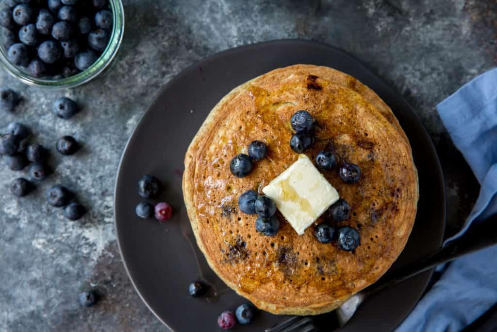 hotcakes on plate overhead