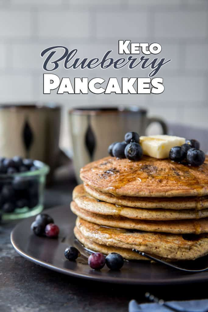 These diner style, blueberry Keto Pancakes are thick and fluffy just like the pancakes you used to eat as child, but low in carbs for a guilt free breakfast!