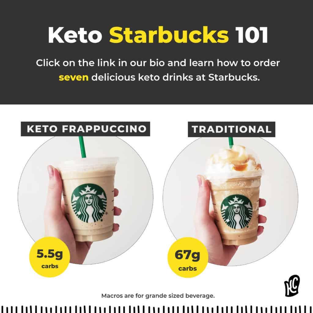 A keto starbucks frappuccino versus a traditional starbucks frappucino.