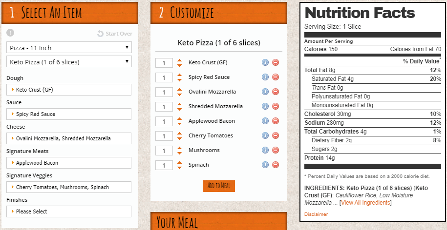 The standard ingredients and nutrition for a blaze keto pizza