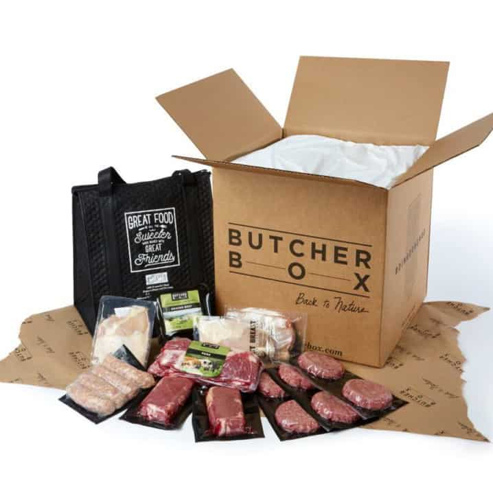 butcher box meats displayed in front of delivery box