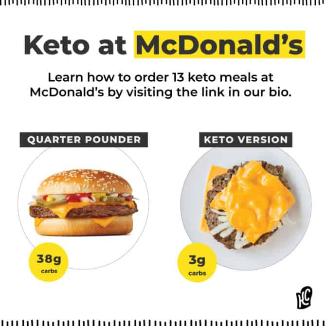 How to order keto from McDonald's graphic showing the differences between a typical order and a keto order