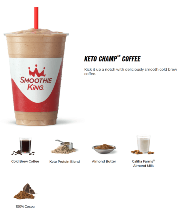 smoothie king coffee keto smoothie with all the ingredients listed in picture form