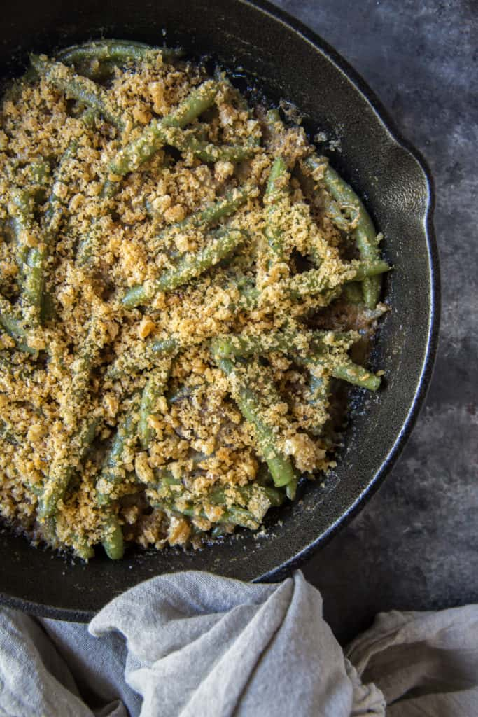 keto side dishes green bean casserole in cast iron skillet
