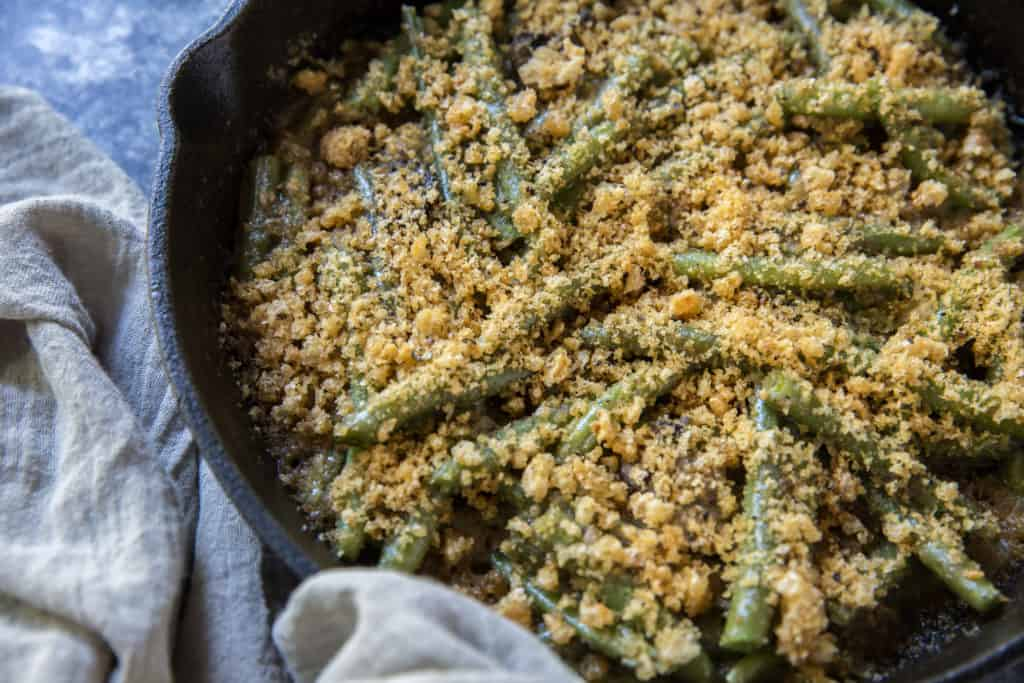green bean casserole keto being served