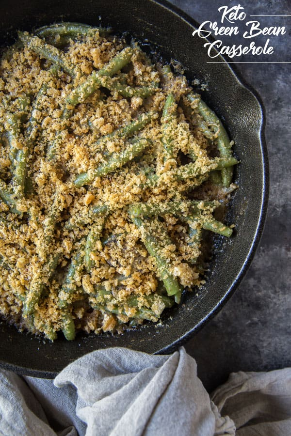 This low carb green bean casserole will remind you of the traditional casserole you ate growing up during the holidays without all of the carbs!