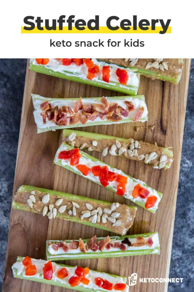 Three low carb stuffed celery recipes perfect for an after school snack!
