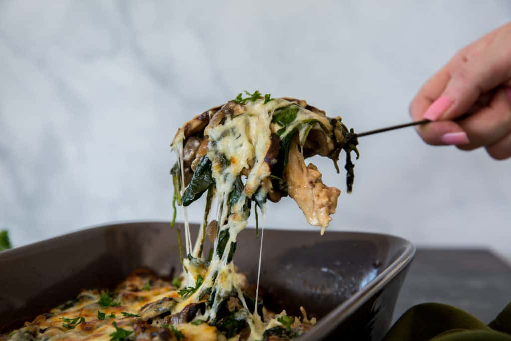 spoon of keto chicken casserole