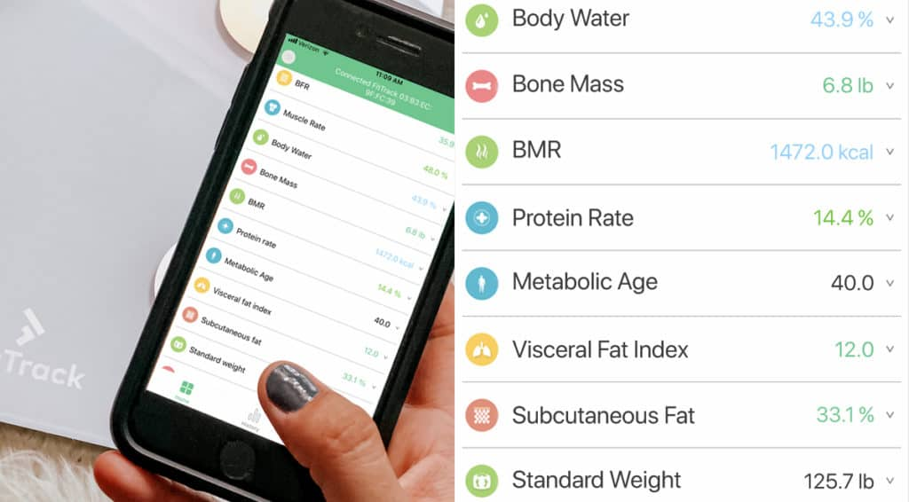 fit track app showing the amount of different metrics tracked by the body fat scale