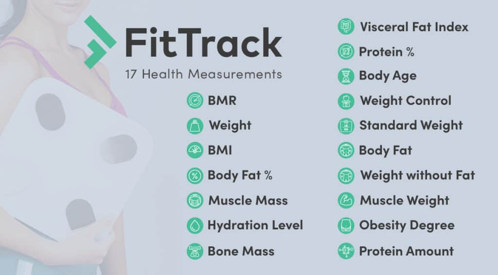 fit track body fat scale tracks over 17 different health metrics