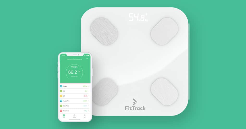 fit track scale and app paired together to record your weight and body fat