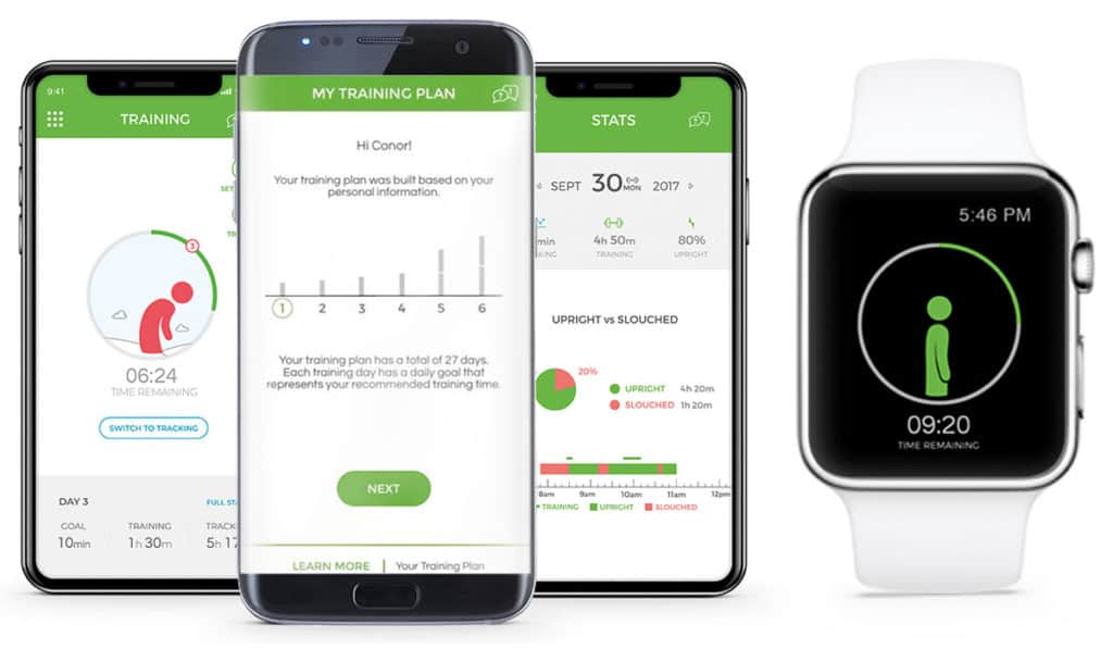 upright go app and smart watch connection shows graphics that improve posture