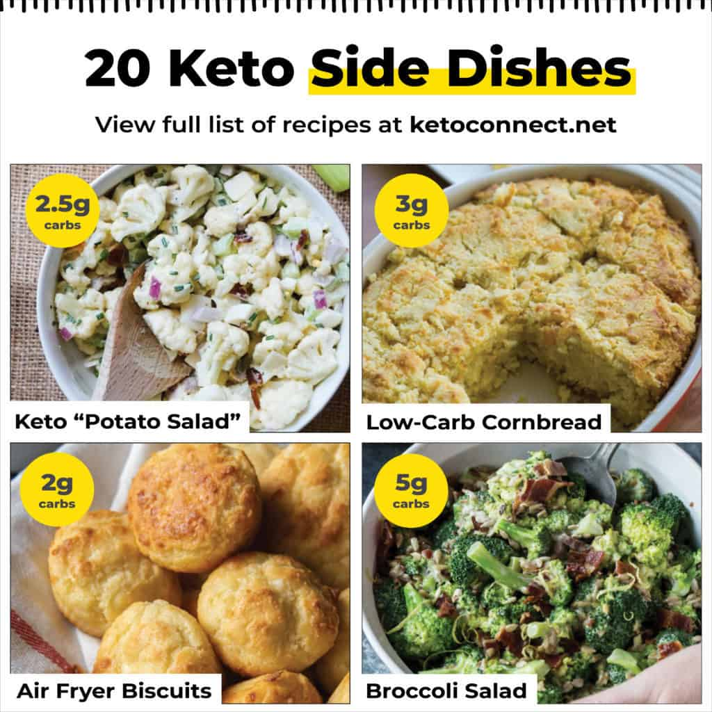 four different keto side dishes in a graphic